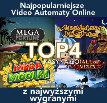 Najwyższe wygrane w TOP 4 najpopularniejszych video automatach online